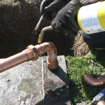 Water conditioner soldered into place