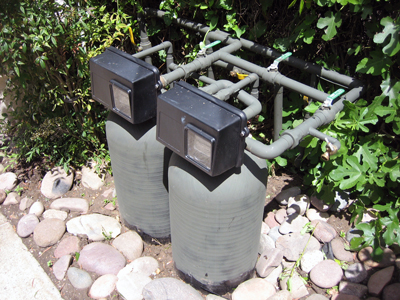 Water filter buried in landscape