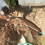 Digging trench for water filter pipes