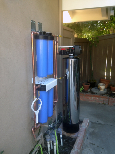 Home water filter is set up outside