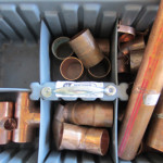 Copper pipe fittings used to install filter